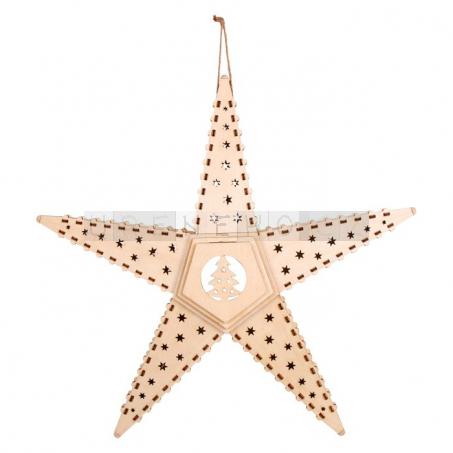 Dřevěná vánoční hvězda do okna s osvětlením