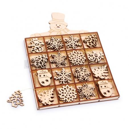 Dřevěné vánoční ozdoby, 48 kusů