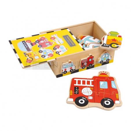 Puzzle - Krabička plná autíček, 6 motivů