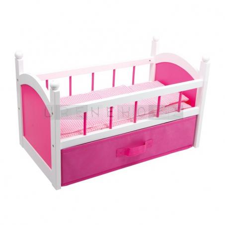 Postýlka pro panenky Pink s úložným prostorem
