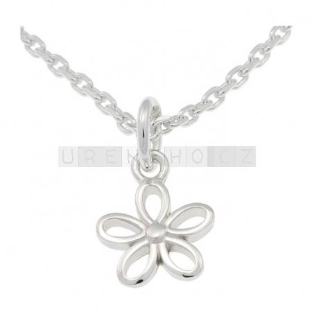 Náušenice a náhrdelník s přívěskem květina (925 stříbro)