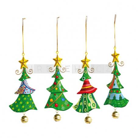 Ozdoby plechový vánoční stromeček, 4 kusy