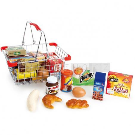 Kovový nákupní košík s nákupem