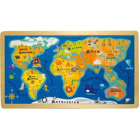 Puzzle v rámu Mapa světa