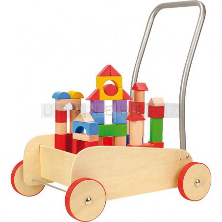 Dřevěný vozík s kostkami
