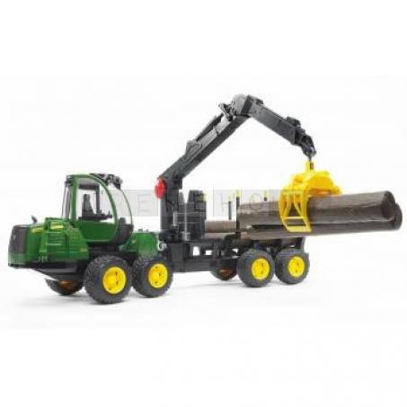 Bruder 2133 John Deere 1210E lesnický traktor s přívěsem nakládacím ramenem [02133]