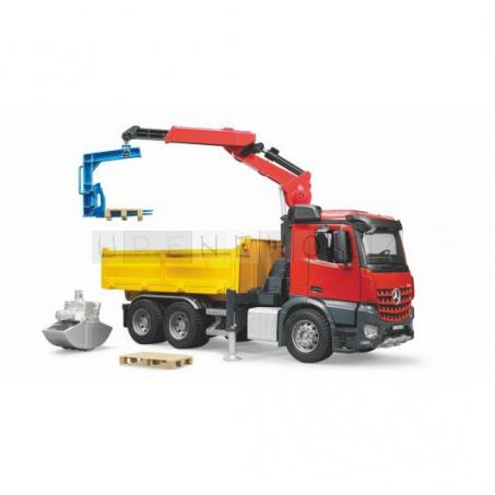 bruder MB Arocs Baustellen-LKW mit Kran, Schaufelgreifer, Palettengabeln und 2 Paletten, Modellfahrzeug  [03651]