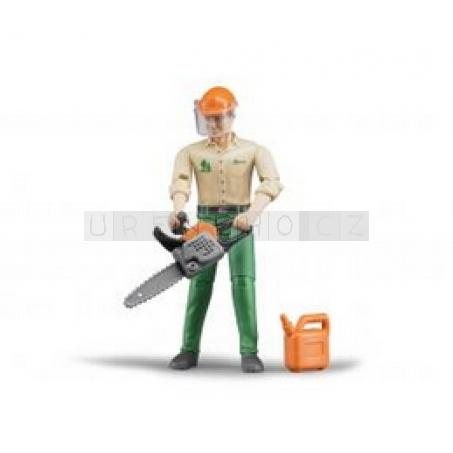 Bruder 60030 Bworld lesní dělník 11cm motorová pila kanistr přilba [60030]