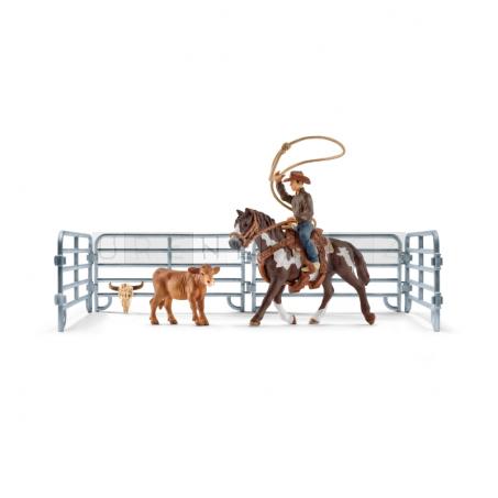 Schleich 41418 Kovboj s lasem na koni a příslušenství