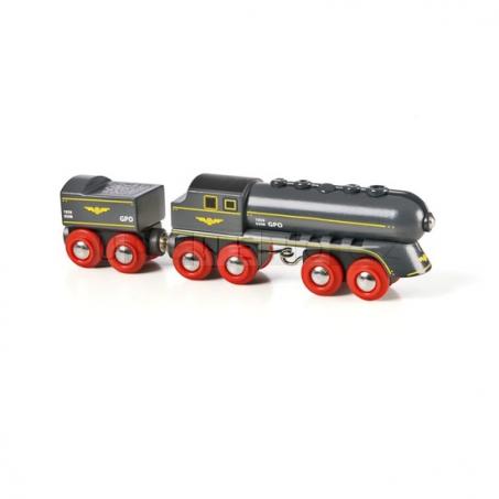 """BRIO Parní lokomotiva """"Černý kulový blesk"""" s vagónkem na uhlí [33697]"""