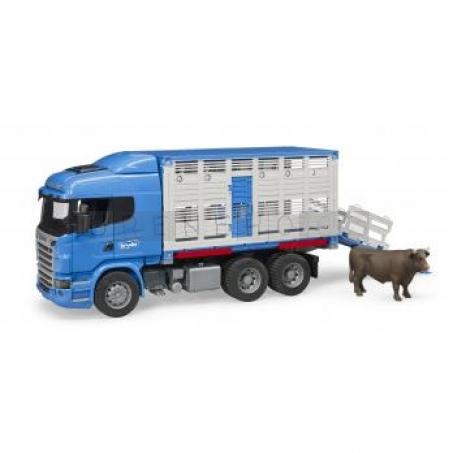 Bruder 3549 Přepravník zvířat Scania R s figurkou krávy [03549]