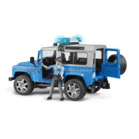 BRUDER 2597 Policejní Land Rover Defender + policista a maják [02597]