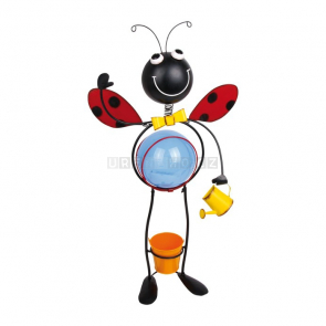 Plechová beruška - LED lampička s květináčkem