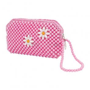 Růžová kabelka s perličkami