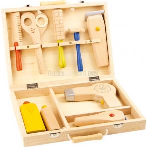 Dřevěný kadeřnický kufřík