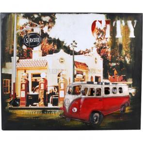 Plechová cedule Hippie-Autobus - dekorace Vintage