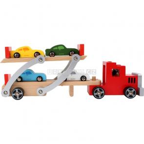 Dřevěný autotransportér a 4 autíčka