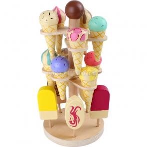 Dřevěný zmrzlinový podstavec, otočný
