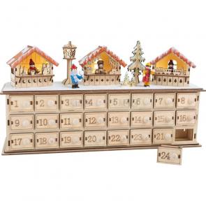 Dřevěný adventní kalendář Vánoční trhy