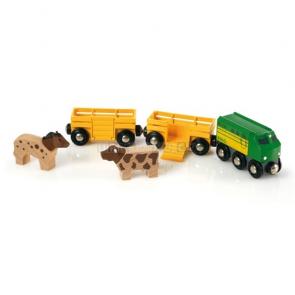 BRIO Zemědělský vlak pro přepravu zvířat [33404]
