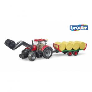 Bruder 3198 Traktor Case IH Optum 300 CVX s čelním nakladačem a přepravníkem na balíky [03198]