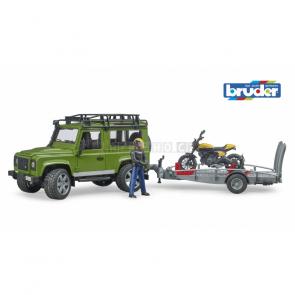 Bruder 2589 Land Rover s přepravníkem a motocyklem Ducati Scrambler Full Throttle [02589]