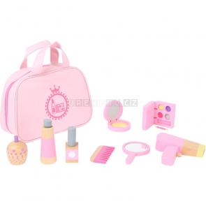 small foot Dětská kosmetická taštička růžová s dřevěnými doplňky [10607]
