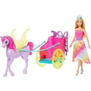 Mattel Barbie Princezna v kočáru a pohádkový kůň GJK53