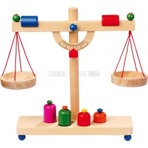 Váha se závažím dřevěná