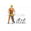 Bruder 60020 Bworld stavební dělník 11 cm 6 ks nářadí přilba [60020]